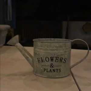Small metal waster can planter
